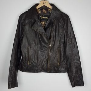 Guess Brown Leather Moto Style Jacket